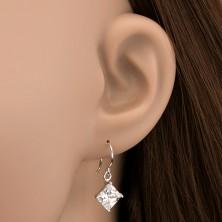 Akasztós 925 ezüst fülbevaló - rombusz alakú cirkónia, 7 mm