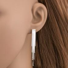 Bedugós ezüst fülbevaló - összekapcsolt szalagok golyócskákkal
