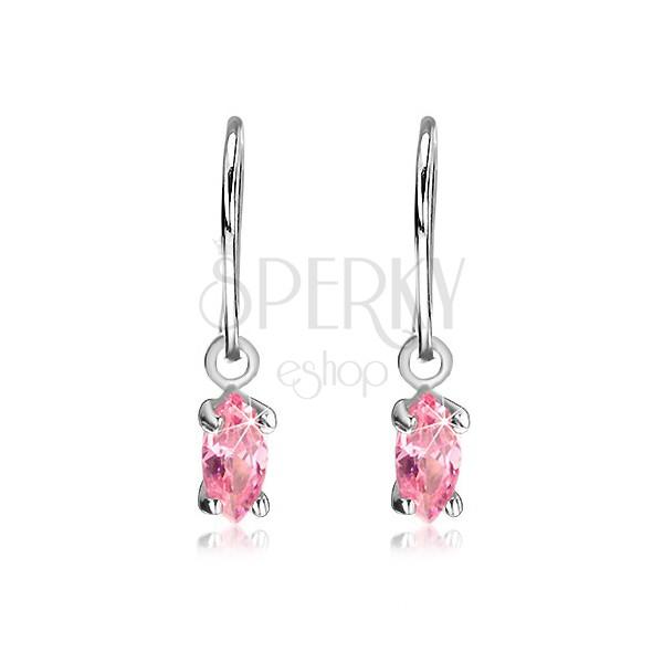 925 - ös ezüst fülbevaló - rózsaszín cirkonkő magok kampón