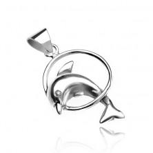 925 ezüst medál - karikán átugró delfin