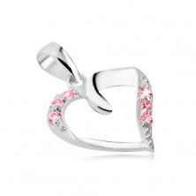 Medál ezüstből - szalagból hajtott szív rózsaszín cirkonkövekkel