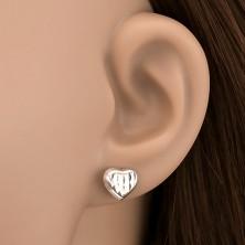 Bedugós 925 ezüst fülbevaló - matt szívecske vésett mintával