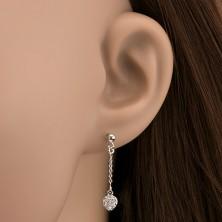 Bedugós fülbevaló 925 ezüstből - cirkonszív láncon