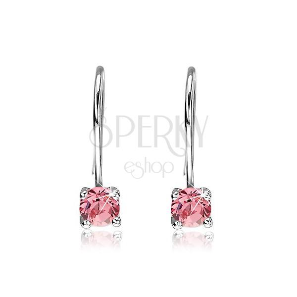 Fülbevaló 925-ös ezüstből - kerek pink cirkónia akasztón, 6 mm