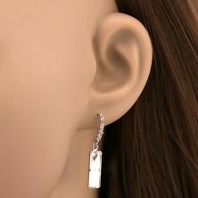 Ezüst fülbevaló - téglalap cirkónia karika füzér alatt