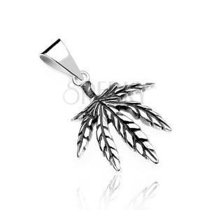 Sterling ezüst medál - finom patinás marihuána levél