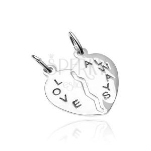 Medál kettőnek 925-ös ezüstből - kettétörhető szív, Love Always