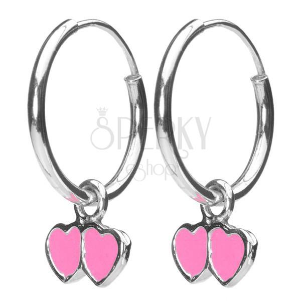Fülbevaló 925 ezüstből - kis karikák rózsaszín szívekkel, 12 mm