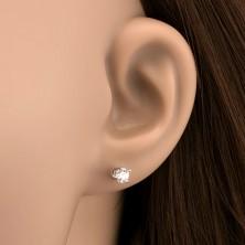 Sterling ezüst fülbevaló - tiszta kerek cirkónia, 4 mm