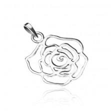 925-ös ezüst medál - fényes rózsa körvonalak