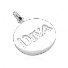925 érem ezüstből - körlap DIVA kivágással, 20 mm