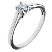 Eljegyzési gyűrű 925 ezüstből - kör alakú cirkonkő kehely alakú fogatban