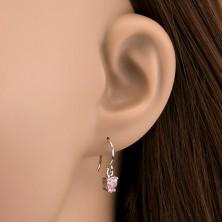 925 ezüst fülbevaló - rózsaszínű cirkonszívek kampón, 5 mm