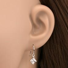 Akasztós 925 ezüst fülbevaló - rombusz alakú tiszta cirkónia, 5 mm