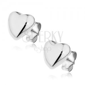 925 ezüst bedugós fülbevaló - domború szívecske, 7 mm