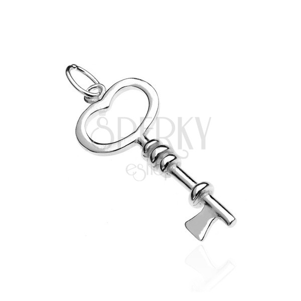 925 ezüst medál - kis kulcs, szív alakú fej