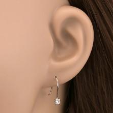Fülbevaló 925 ezüstből - tiszta, kerek cirkonkövek akasztón, 3 mm