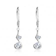 Akasztós 925 ezüst fülbevaló - S alakú függő rúgós akasztón, két cirkónia