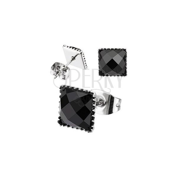 Bedugós acél fülbevaló - csiszolt négyzet cirkónia, 7 mm