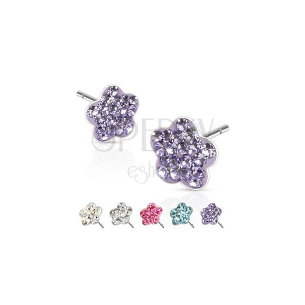 Bedugós fülbevaló acélból - ötszirmú virág, színes kövecskék