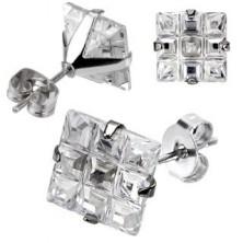 Bedugós fülbevaló acélból - négyzet alakú csiszolt cirkónia