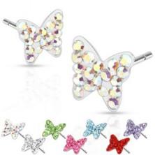 Acél fülbevaló - pillangók, színes kövek, bedugós