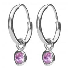 925 ezüst karika fülbevaló - kerek rózsaszín cirkonkő függő