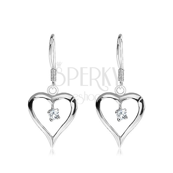 Fülbevaló 925 ezüstből - nyújtott szívecske függő középen tiszta cirkonkővel
