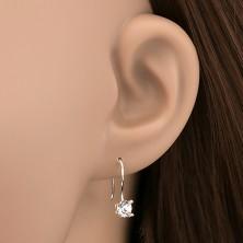 Akasztós 925 ezüst fülbevaló - kör alakú tiszta cirkonkő, 5 mm