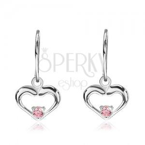 925 ezüst fülbevaló - függő szívek rózsaszín cirkóniával