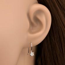 925 ezüst fülbevaló - tiszta cirkonkő egyszerű akasztón, 4 mm