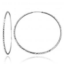 Kerek fülbevaló 925 ezüstből - fényes bordás felület, 40 mm