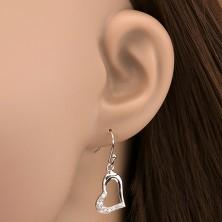 925 ezüst fülbevaló - nyújtott szív cirkóniákkal, oldalsó fogat