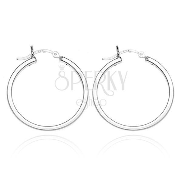 925 ezüst karika fülbevaló - egyszerű hasáb forma, 22 mm