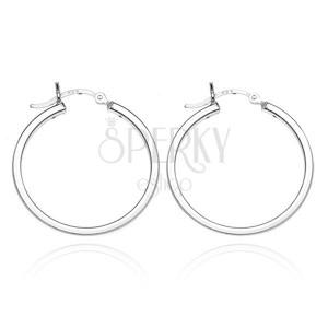925-ös ezüst karika fülbevaló - négy fényes oldal, 24 mm