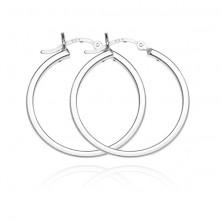 Kerek 925 ezüst fülbevaló - sima négyszögletes forma, 40 mm