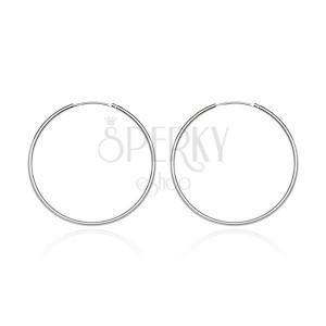 Kerek fülbevaló 925 ezüstből - fényes és sima felület, 15 mm