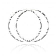 Sterling ezüst fülbevaló - vékony, sima karika, 36 mm