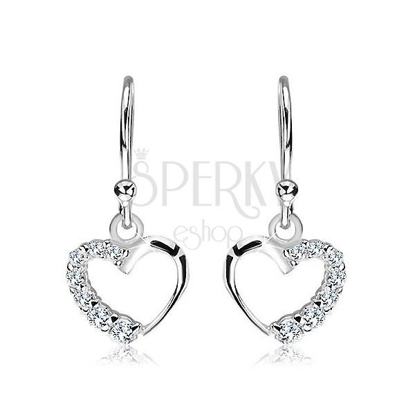 Akasztós 925 ezüst fülbevaló - szívkeret tiszta cirkóniákkal