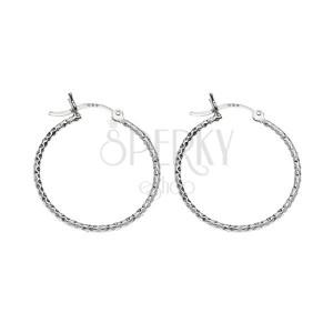 925 ezüst karika fülbevaló - rombusz alakú mélyedések, 17 mm
