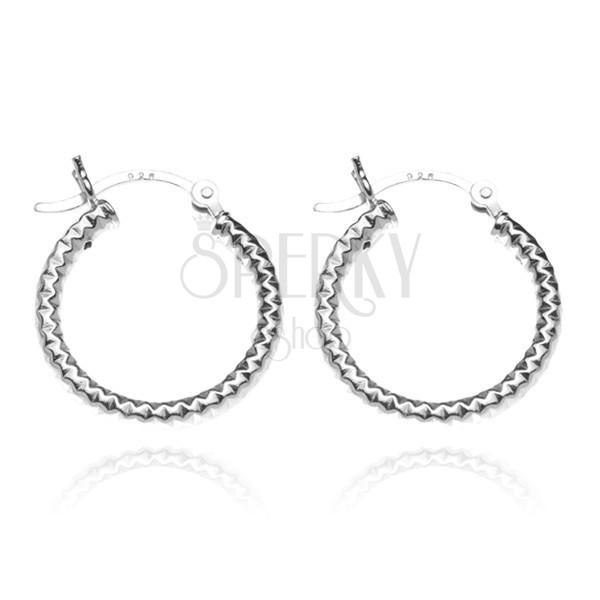 925 ezüst fülbevaló - vastag karikák mélyedésekkel, 18 mm