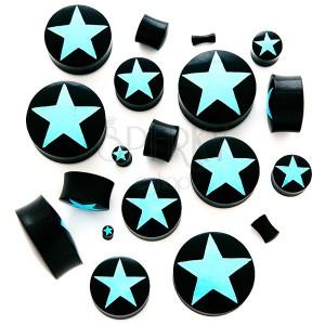 Nyereg plug - természetes fekete anyag, csillag