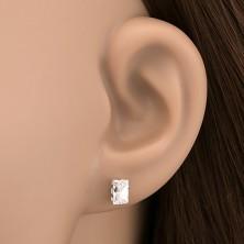 925-ös ezüst bedugós fülbevaló - csiszolt cirkónia téglalap