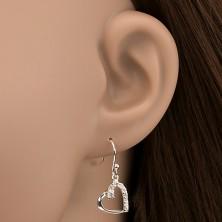 925 ezüst fülbevaló - szív körvonal és cirkóniák, ferde fogat