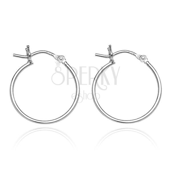 925 ezüst fülbevaló - vékony sima karika, 20 mm