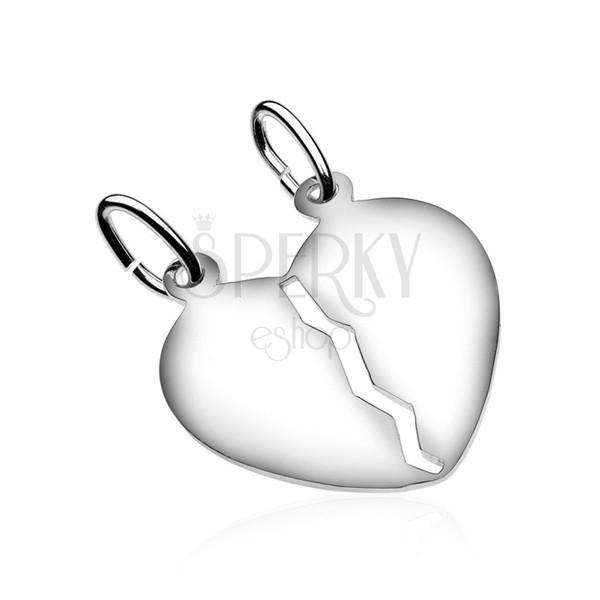 925 ezüst kettős medál - fényes szív kivágással a közepén