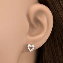 925 ezüst bedugós fülbevaló - ragyogó köves szív, kivágással