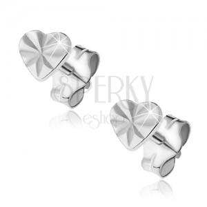 Fülbevaló sterling ezüstből - fényes szív sugarakkal