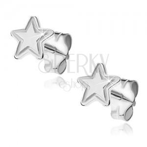 Bedugós ezüst fülbevaló - ötágú gravírozott csillag