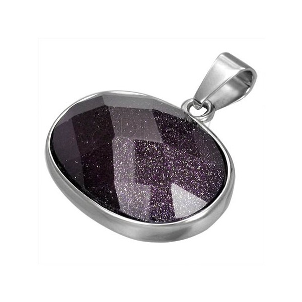Ovális medál minőségi acélból - csiszolt lila ékkő